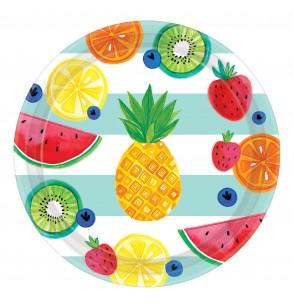 set de 8 platos grandes tutti fruti