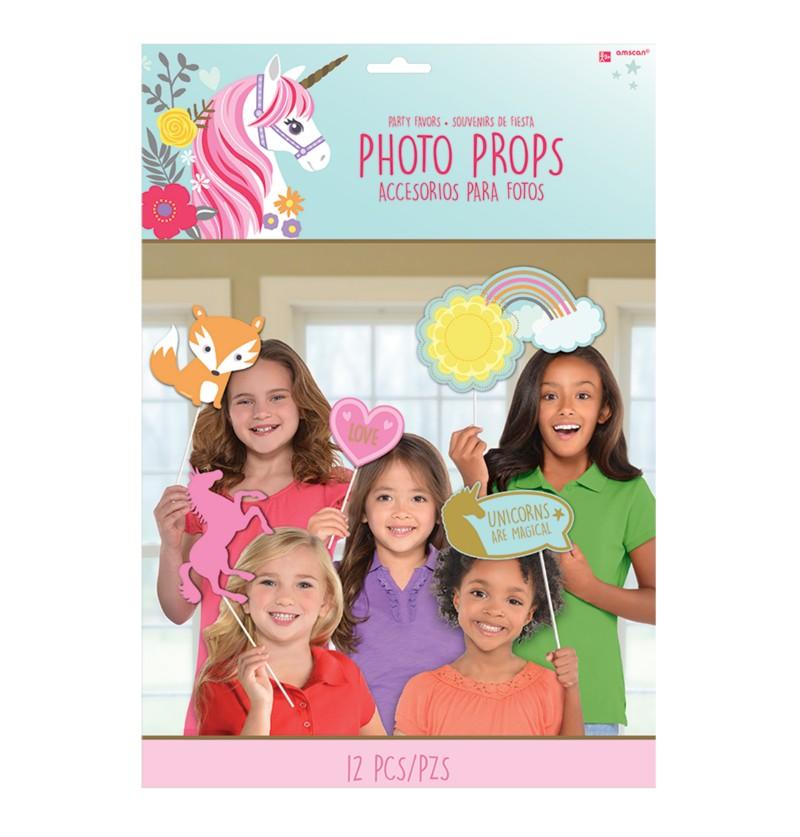 set de 12 complementos para photocall de princesa unicornio
