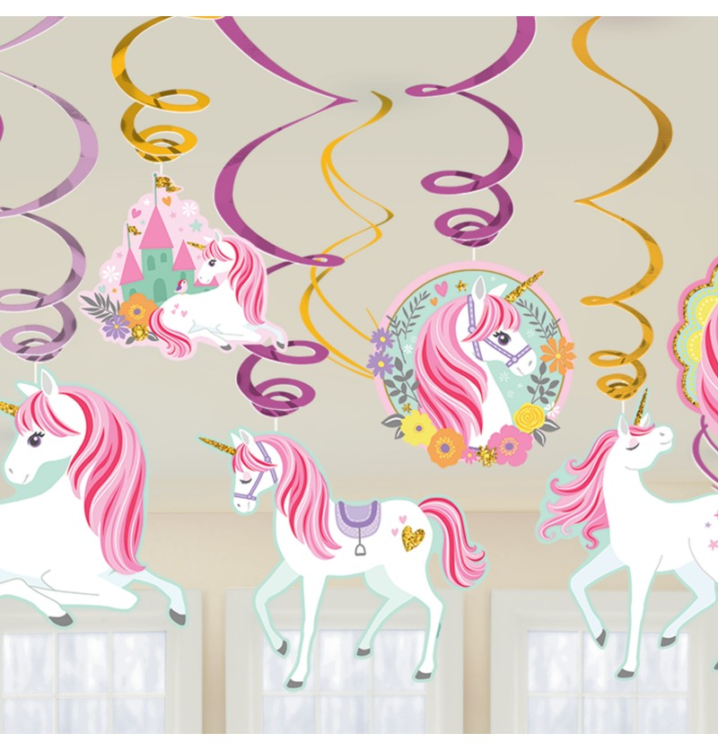 kit de 12 decoraciones colgantes de princesa de unicornio