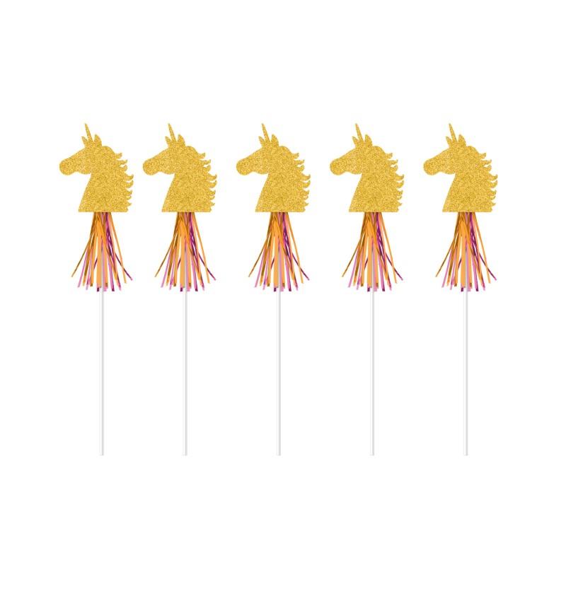 set de 6 palillos decorativos con unicornio dorados