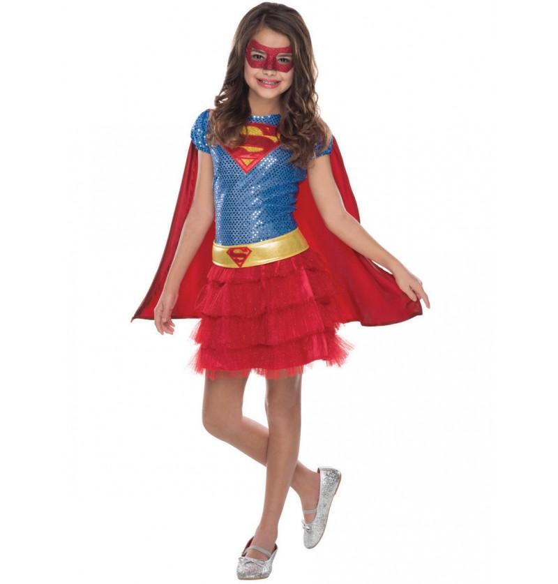 Disfraz de Supergirl justiciera DC Comics para niña