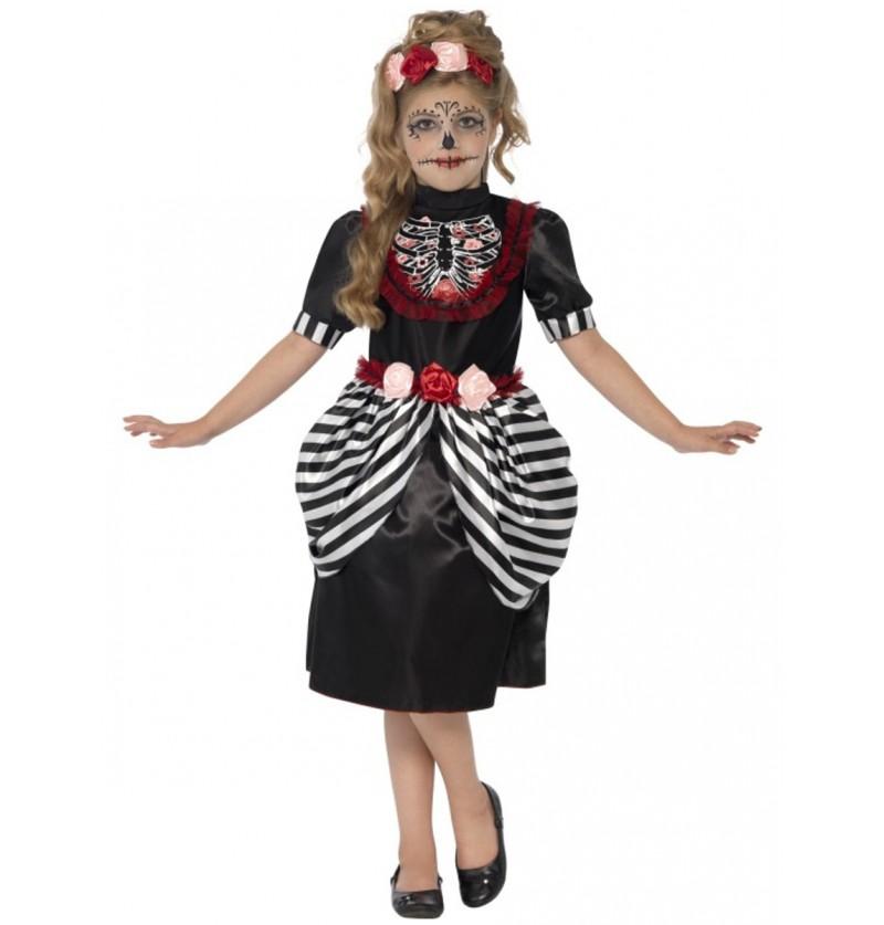 Disfraz de muerte mexicana para niña
