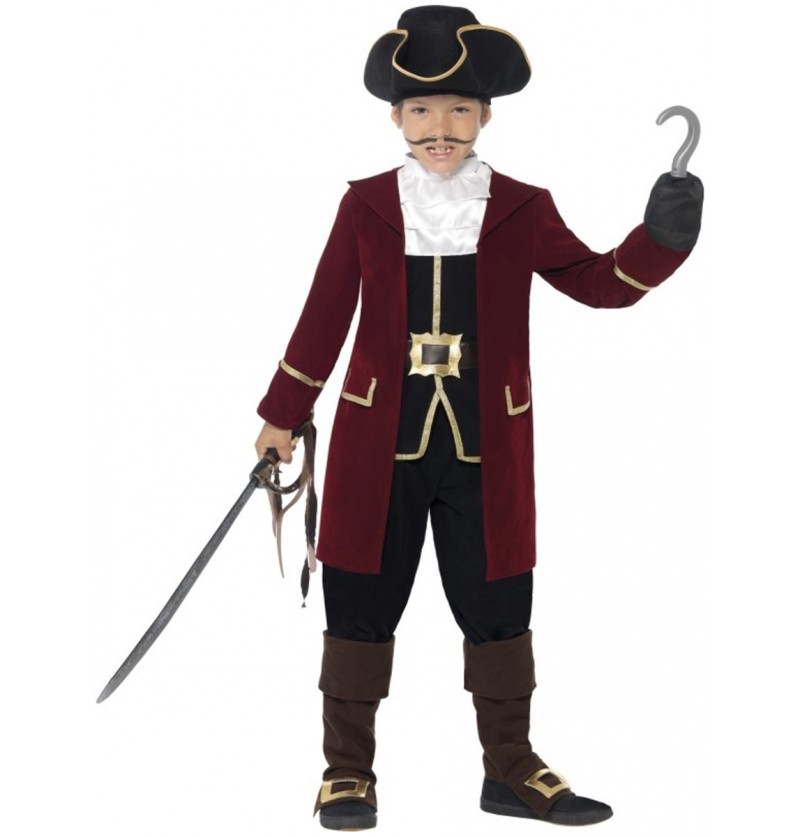 Disfraz de pirata granate para niño