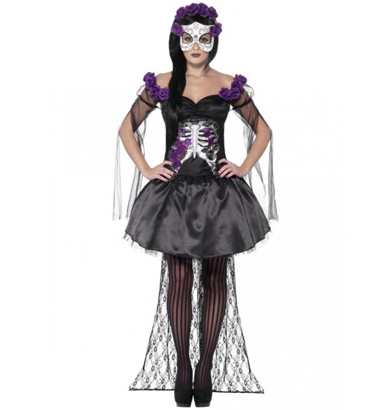 Disfraz de señorita del día de la muerte sexy para mujer