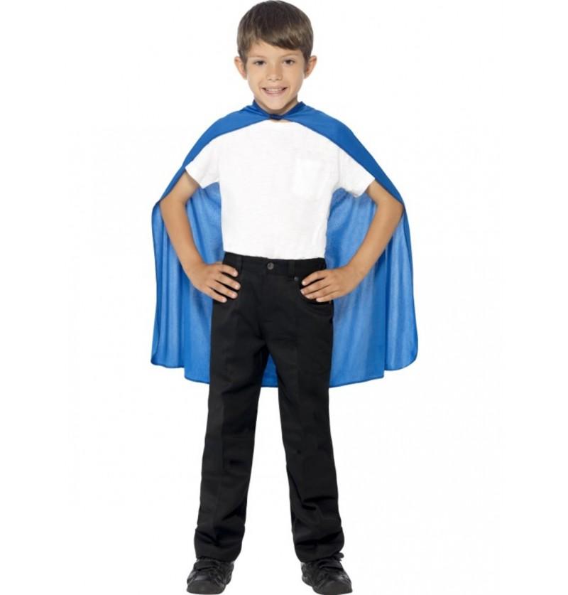 Capa de superhéroe color azul para niño
