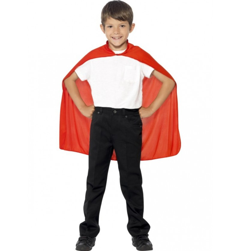 Capa de superhéroe color rojo para niño