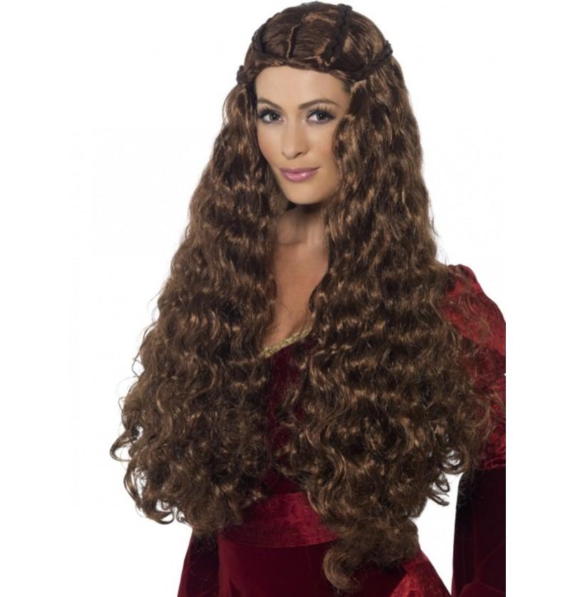 Peluca princesa medieval castaña para mujer