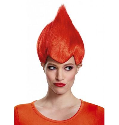peluca de trolls roja para adulto