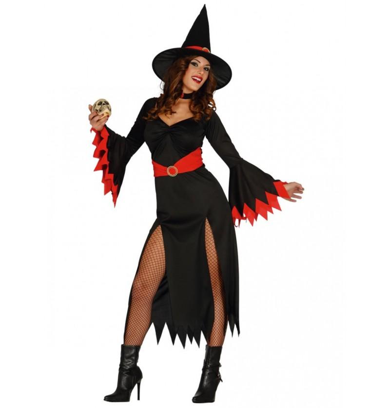 Disfraz de bruja sexy roja para mujer