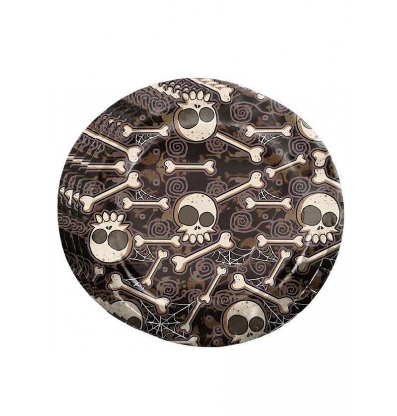 Set de 8 platos de Halloween esqueletos