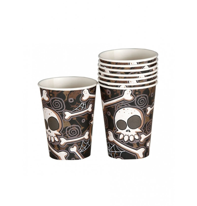 Set de 8 vasos de Halloween esqueletos