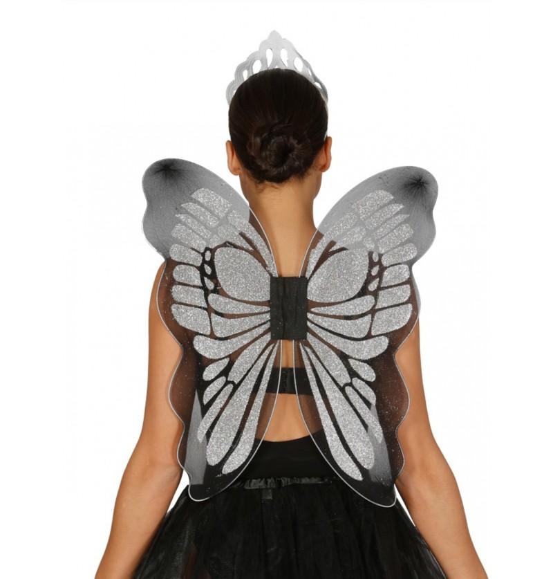 Alas de mariposa de plata para mujer