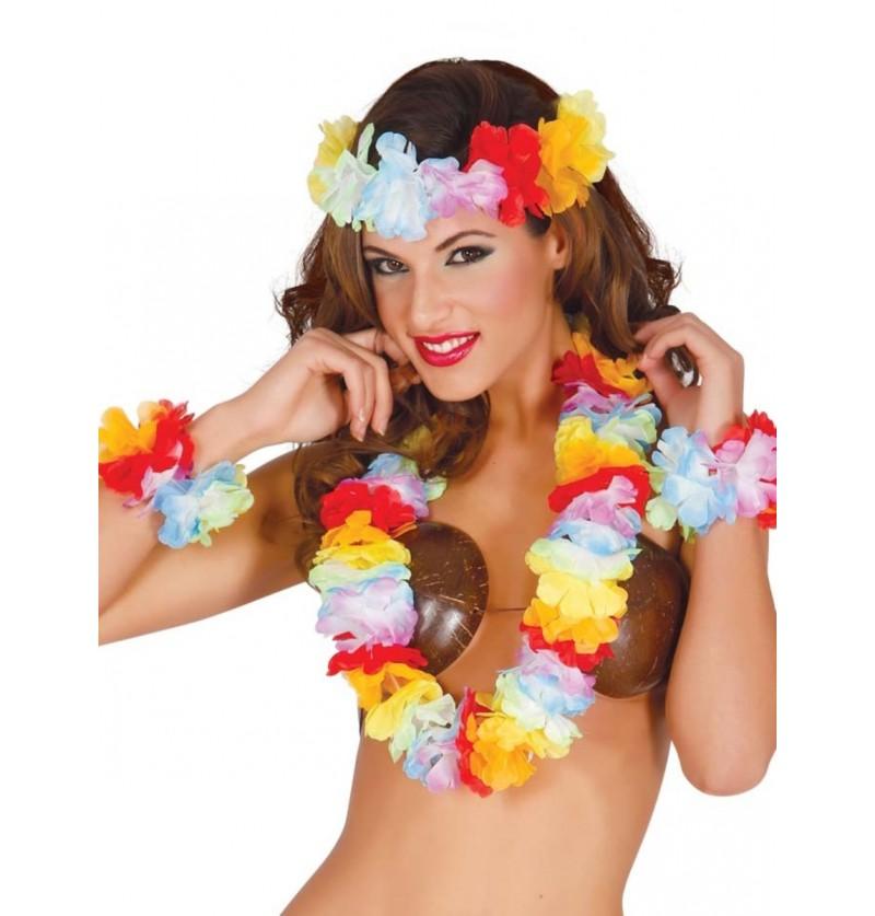 Set de accesorios hawaianos para mujer