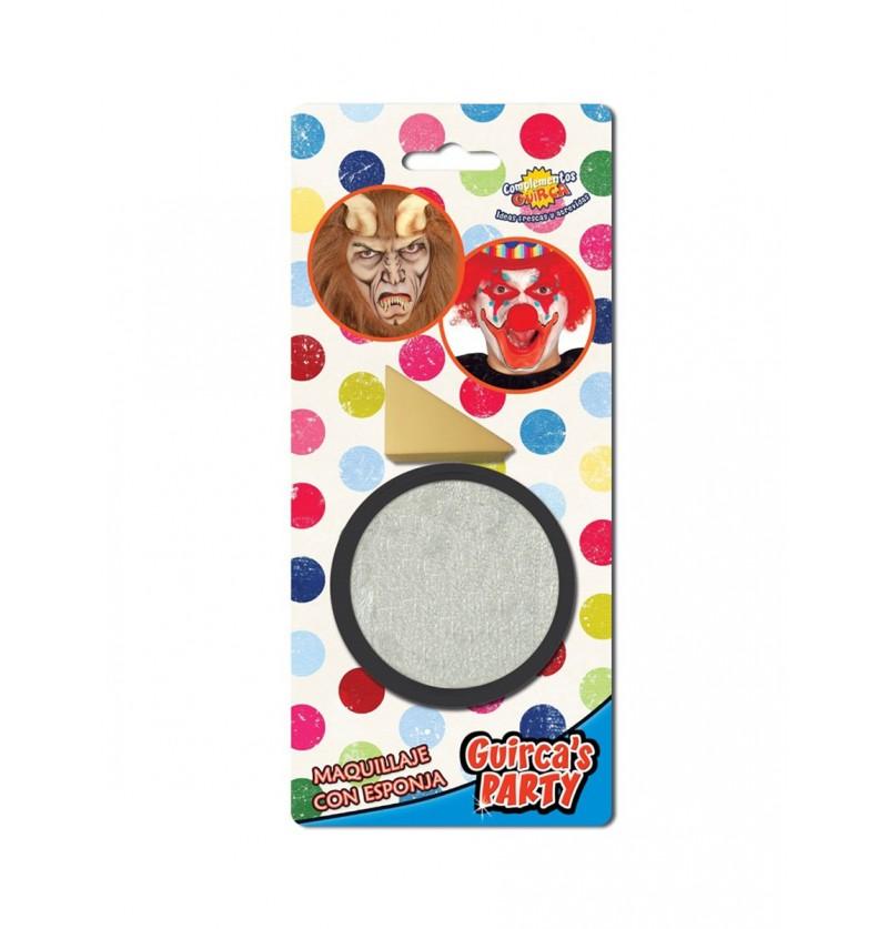 Maquillaje color plata con esponja