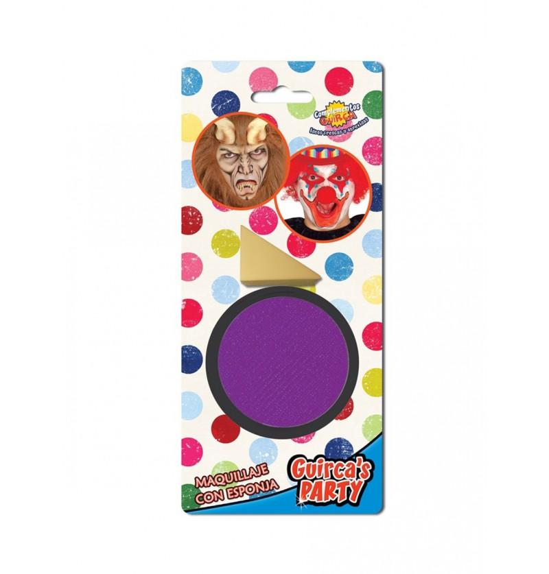 Maquillaje color violeta con esponja