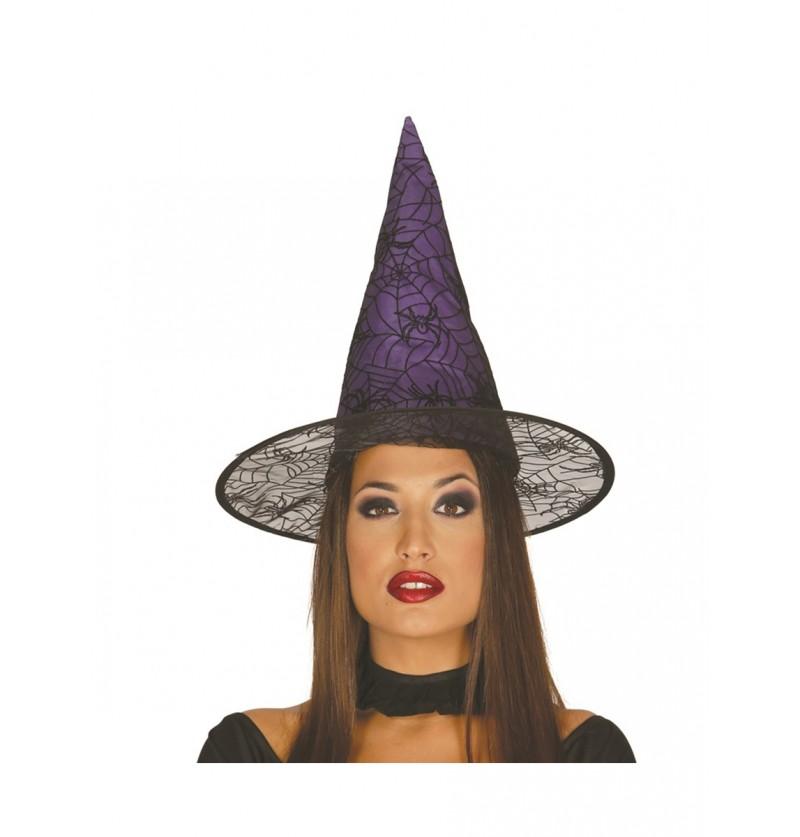 Sombrero de bruja lila para mujer
