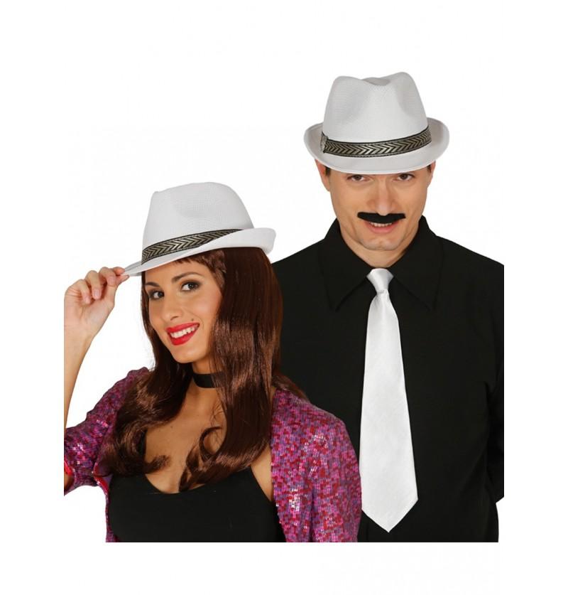 Sombrero casino blanco unisex