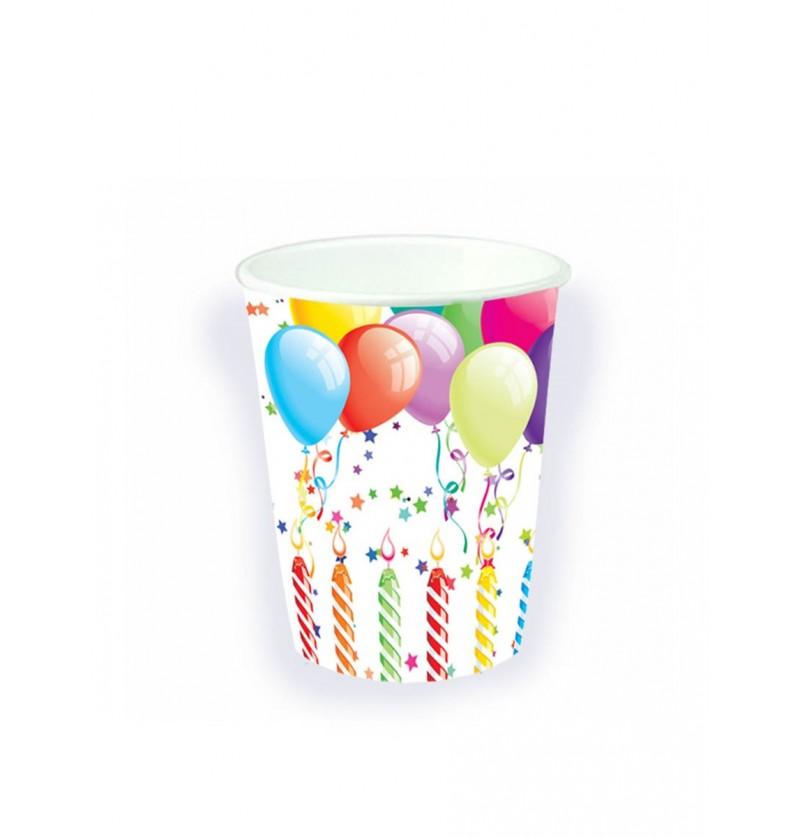 Set de 8 vasos globos cumpleañeros