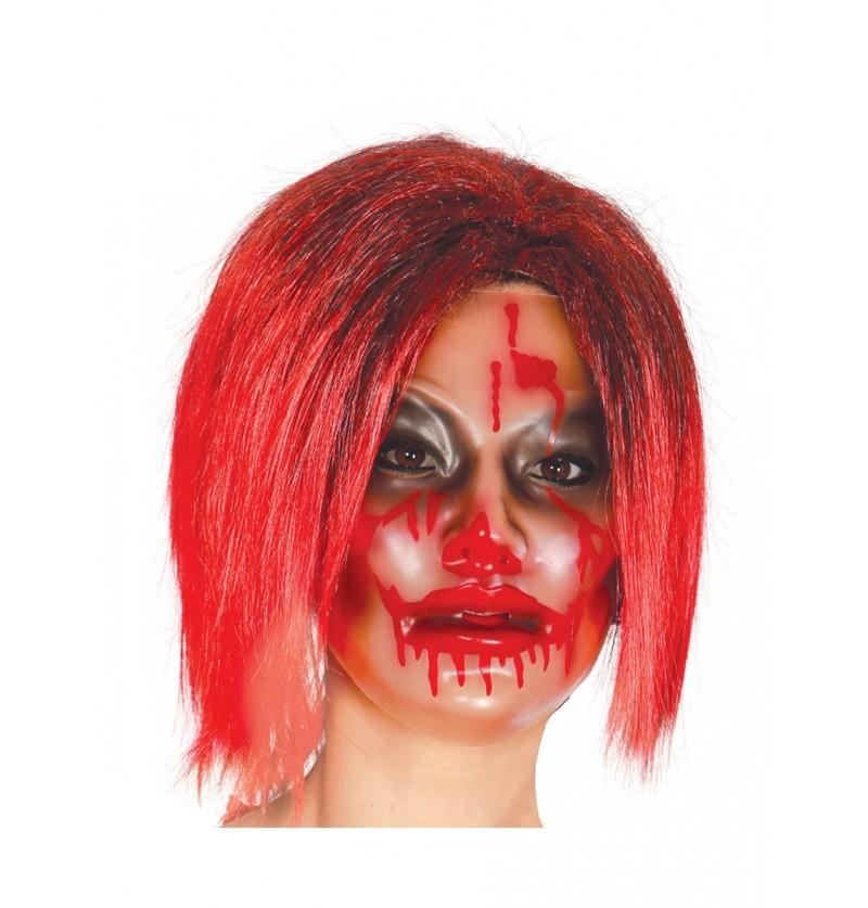 Máscara transparente de chica ensangrentada para mujer