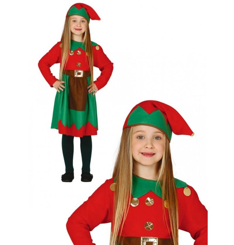 Disfraz de elfa trabajadora roja para niña