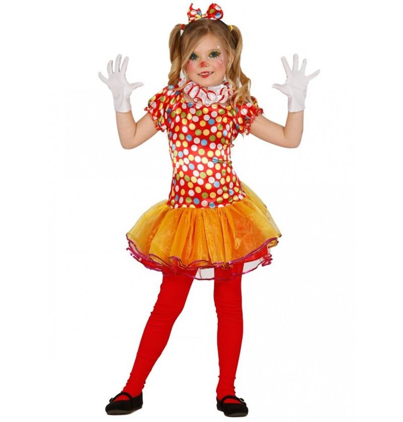 Disfraz de payasita colorida para niña
