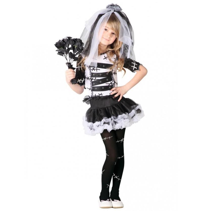 Disfraz de novia cadáver elegante para niña