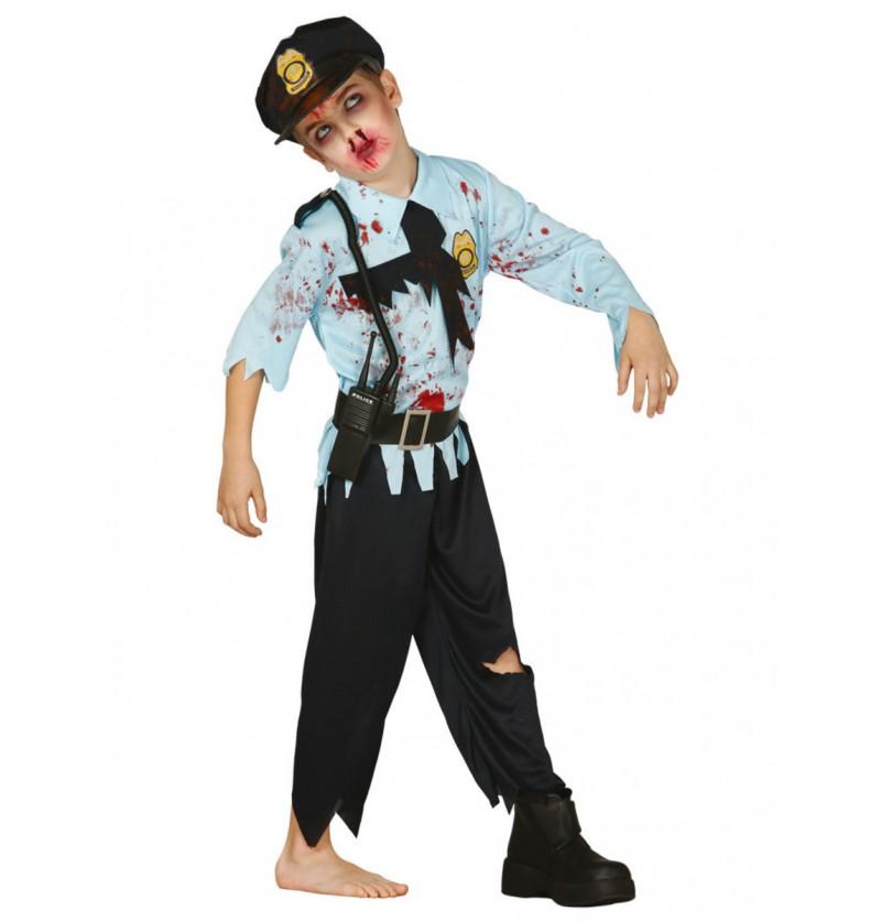 Disfraz de policía zombie para niño