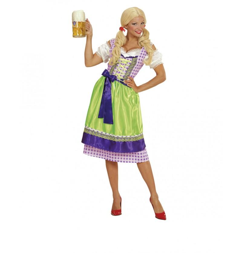 Disfraz con dirndl violeta y verde para mujer