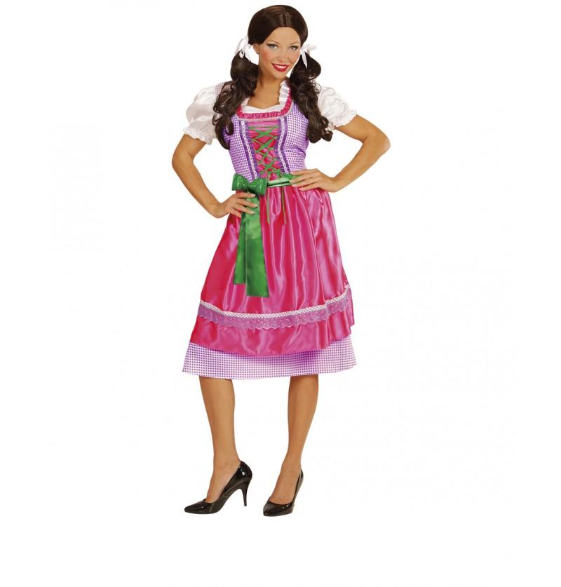 Disfraz con dirndl rosa y verde para mujer
