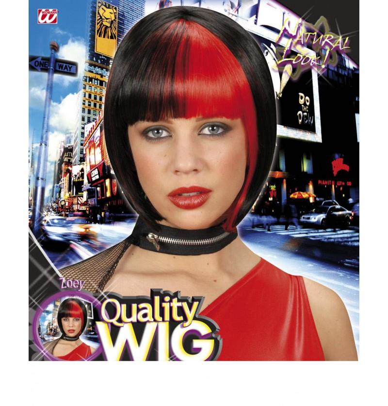 Peluca negra con mechas rojos estilo Zoey para mujer