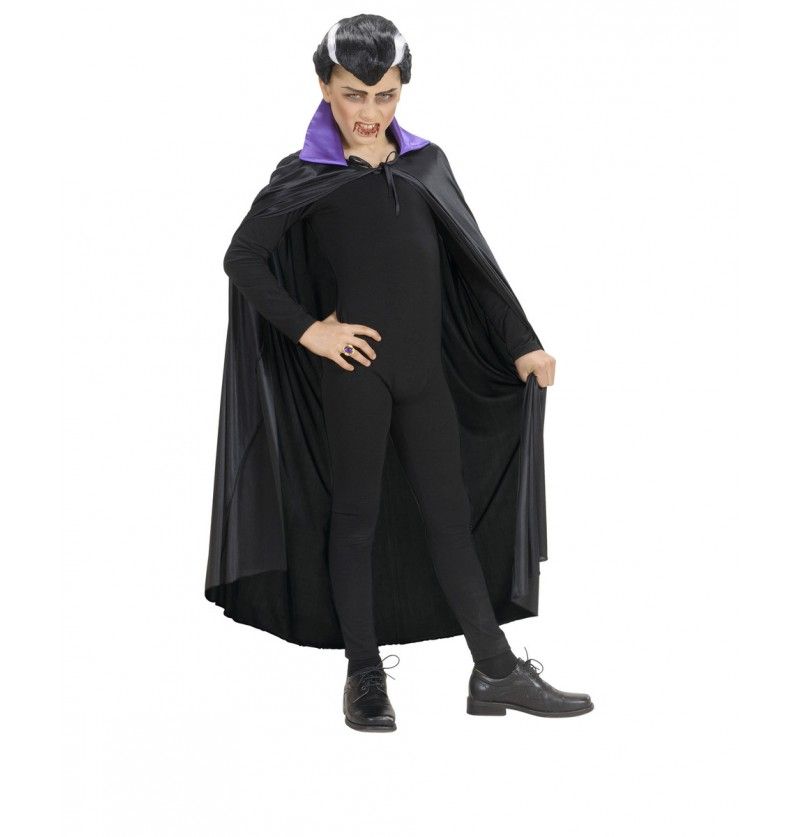 Capa negra con cuello de raso púrpura delicado infantil