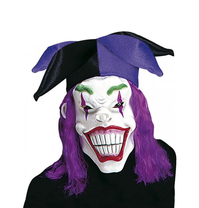 Máscara de arlequín macabro con peluca y gorro para hombre