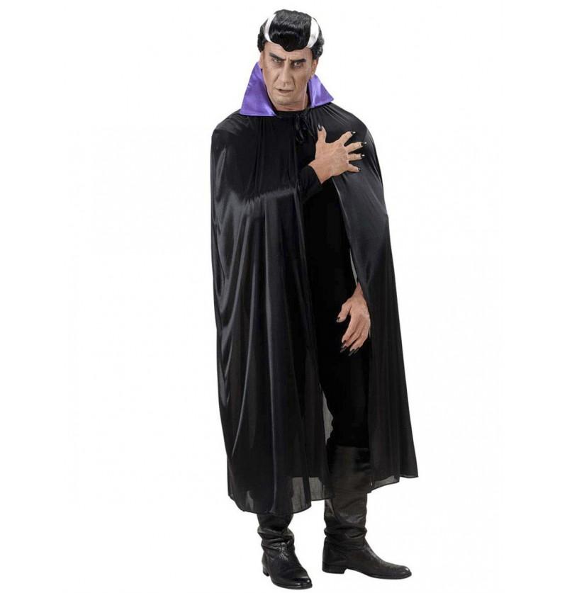 Capa negra con cuello de raso púrpura unisex