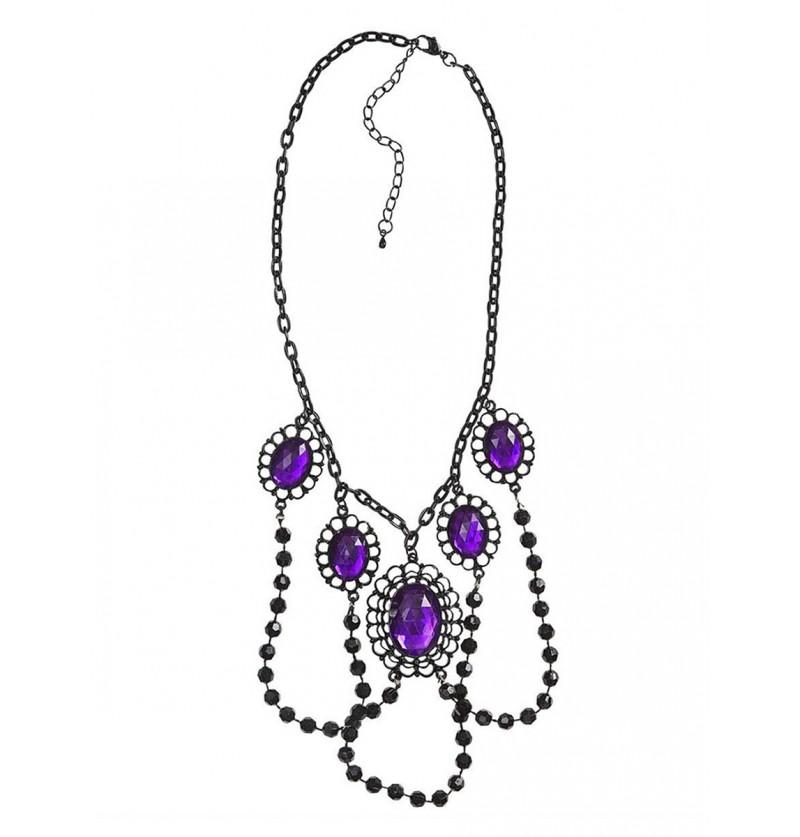 Collar de perlas negras con piedras púrpuras para mujer