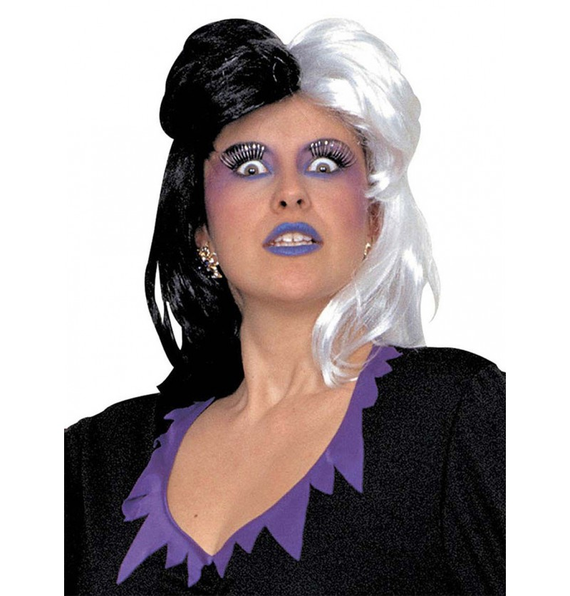Peluca de color negro y blanco para mujer
