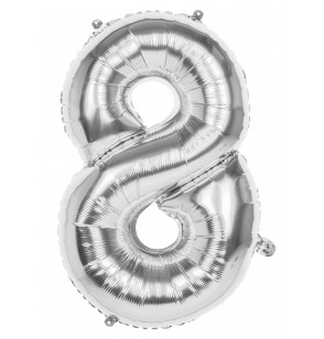 globo nmero 8 plateado 86 cm