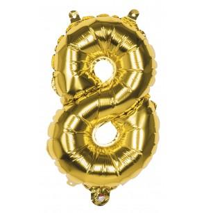 globo nmero 8 dorado 36 cm