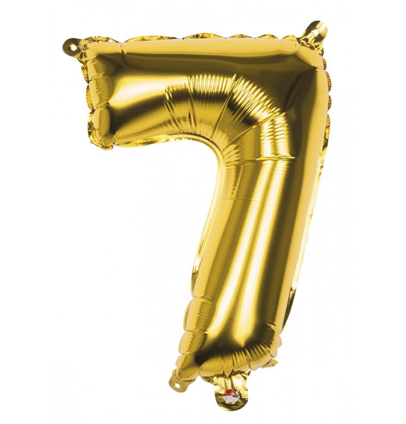 globo nmero 7 dorado 36 cm
