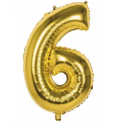 globo nmero 6 dorado 86 cm