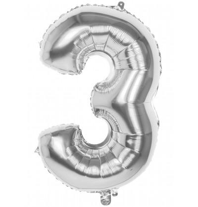 globo nmero 3 plateado 86 cm