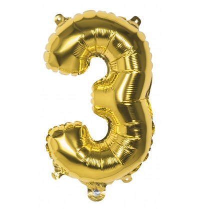 globo nmero 3 dorado 36 cm