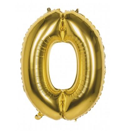 globo nmero 0 dorado 86 cm