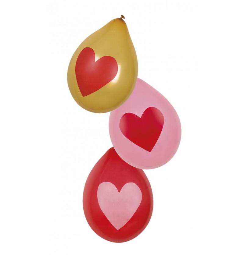 set de 6 globos amor con corazones dorados