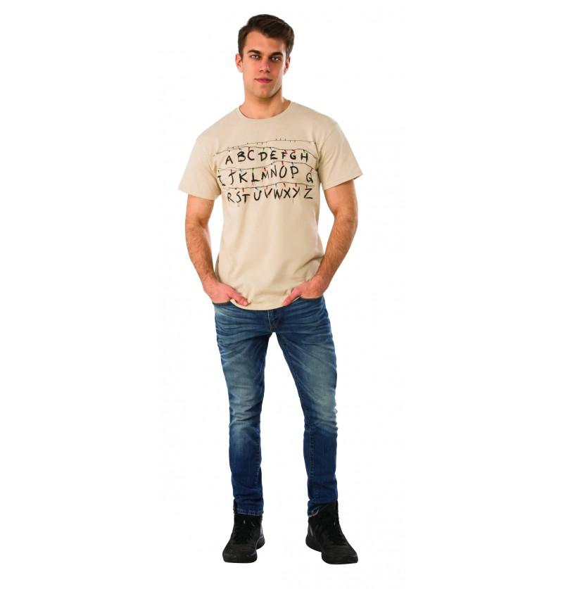 camiseta de abecedario en la pared stranger things