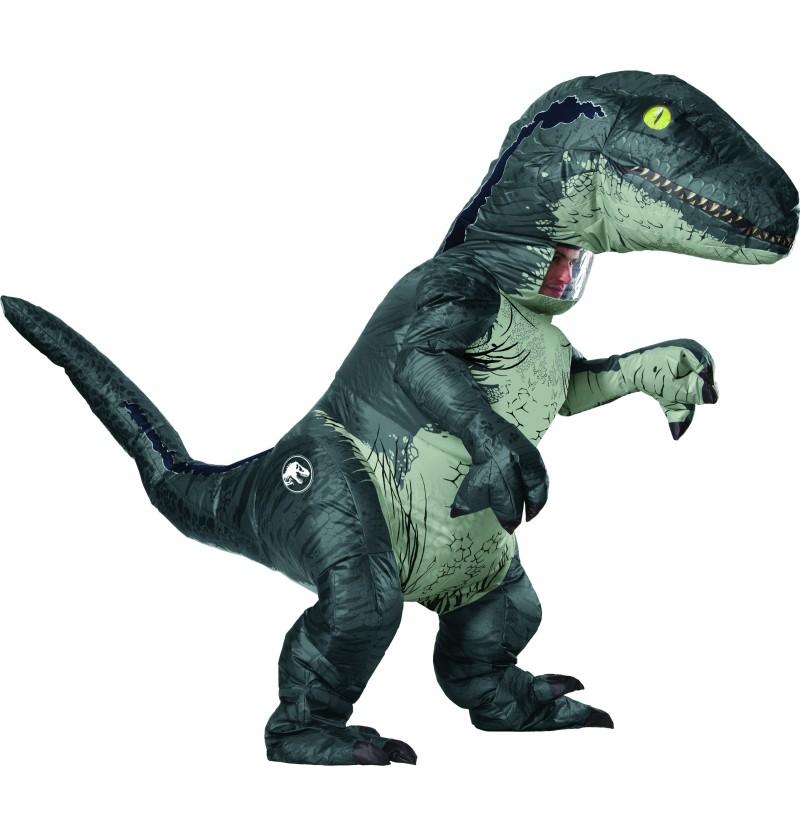 disfraz hinchable de velociraptor blue deluxe para adulto jurassic world