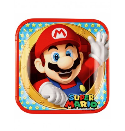 set de 8 platos super mario bros 23 cm