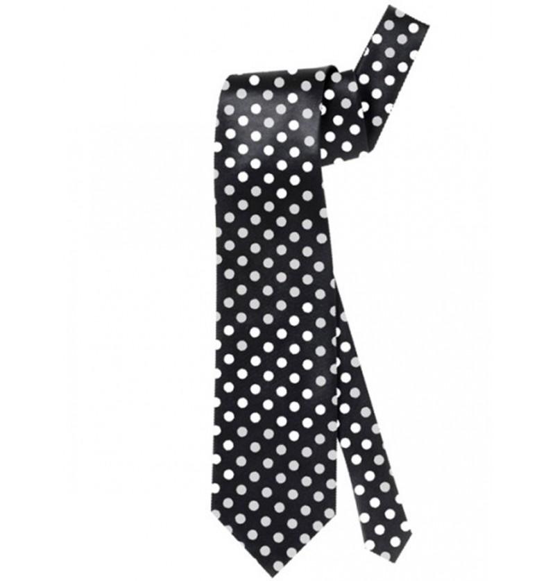 Corbata negra de lunares