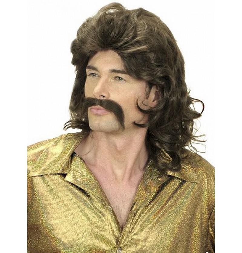 Peluca y bigote de los 70 castaña