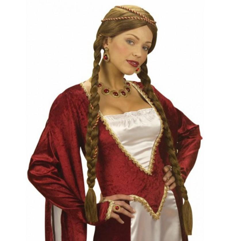 Peluca de princesa castaña medieval