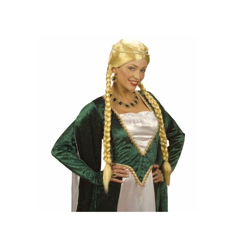 Peluca de princesa rubia medieval